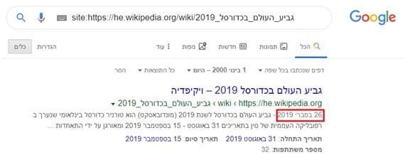 צילום מסך מגוגל לפקודת site לערך ויקיפדיה של אליפות העולם בכדורסל 2019