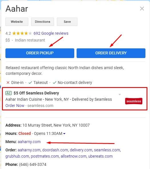 חלק מהשינויים שביצעה גוגל בתחום המסעדות ב-GMB