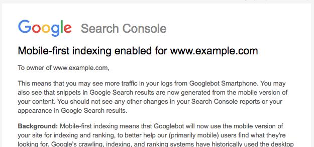 הודעה בsearch console על מובייל פרסט אינדק