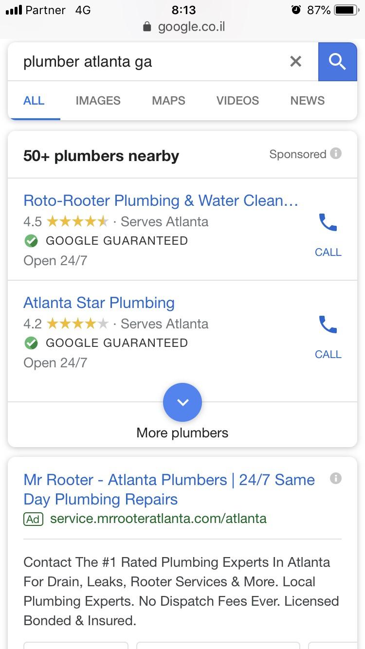 צילום מסך לעמוד תוצאות חיפוש של גוגל במובייל