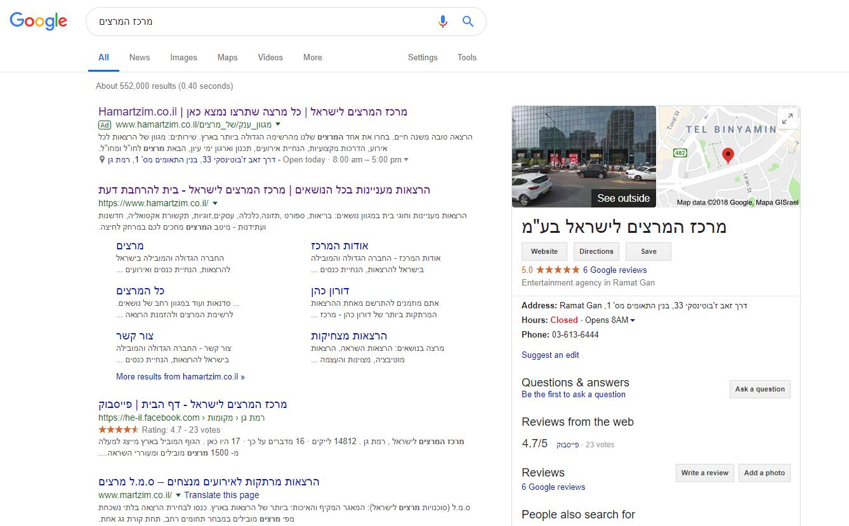גוגל מיי ביזנס מרכז המרצים לישראל