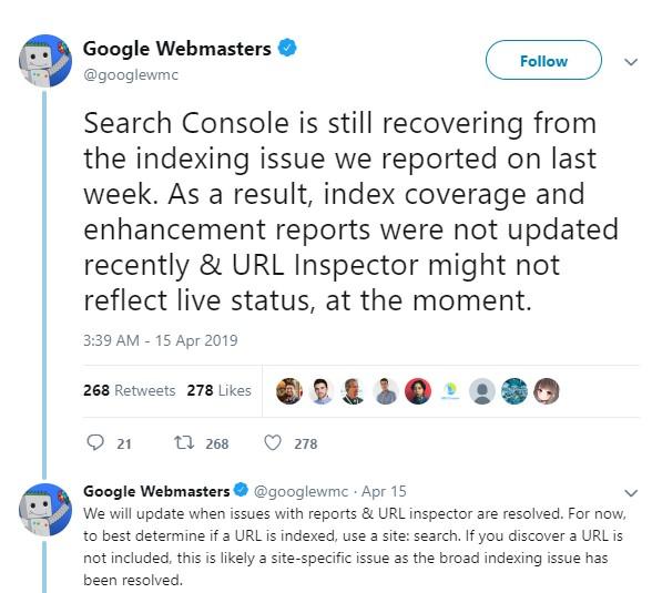 הודעת עדכון של גוגל בטוויטר