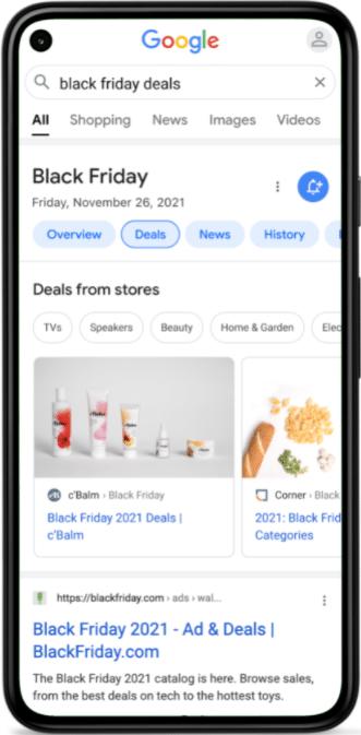 """צילום מסך מתוך גוגל ארה""""ב לשאילתה black friday deals"""