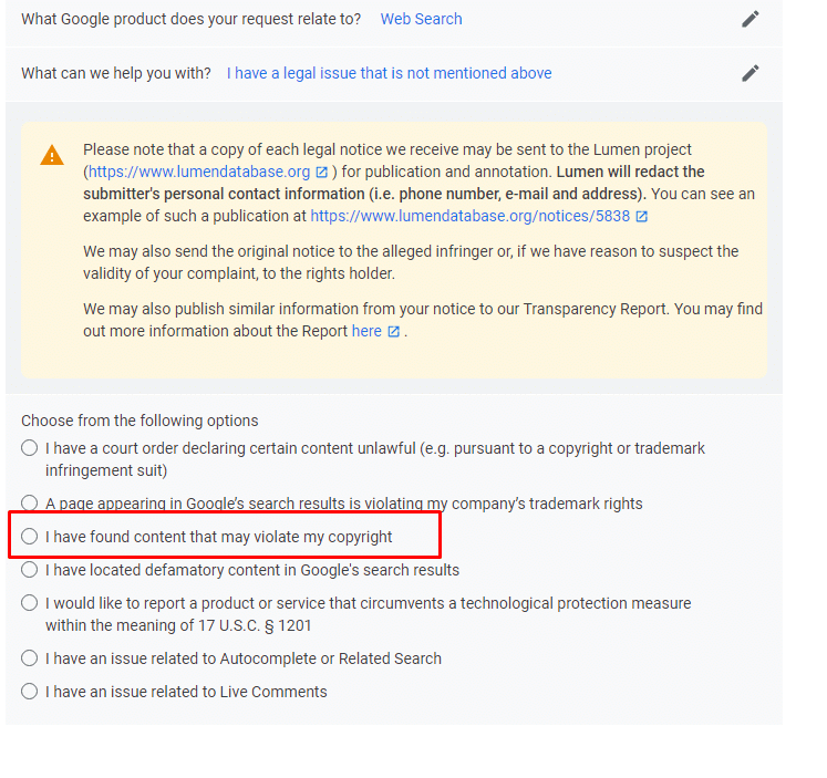 מנגון הדיווח על הפרת זכויות יוצרים בגוגל