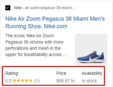 תצוגת סכמת מוצר בעמוד תוצאות חיפוש