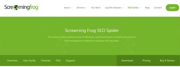 צילום מסך מאתר screaming frog