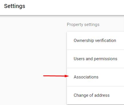 צילום מסך לאזור Associations במערכת Google Search Console