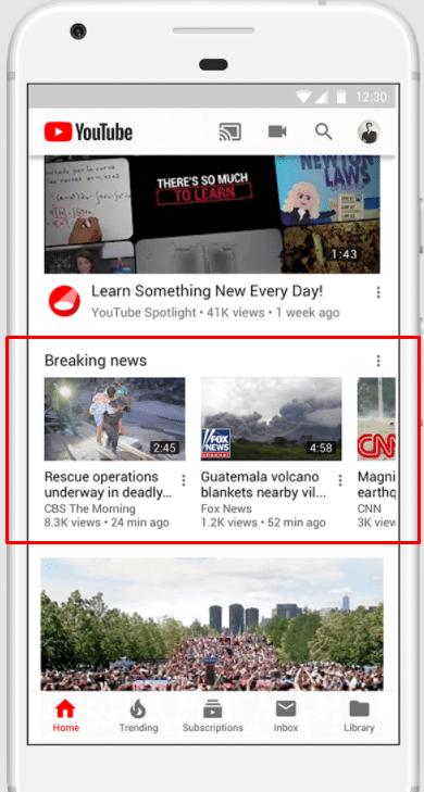 צילום מסך רכיב חדשות מתפרצות ביוטיוב